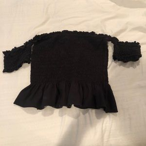 urban outfitters rouched off the shoulder top